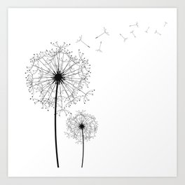 Black And White Dandelion Sketch Art Print