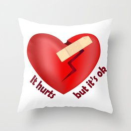 Broken heart patch Throw Pillow