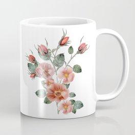 Botanical vector illustration with wild pink rose isolated on white Coffee Mug