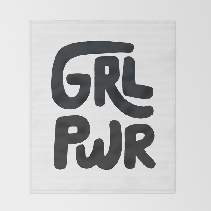 Grl Pwr black and white Throw Blanket