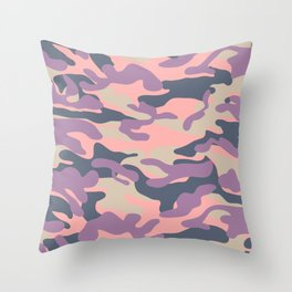 Pink Military Camouflage Pattern Throw Pillow
