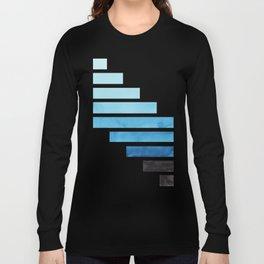 Cerulean Blue Midcentury Modern Minimalist Staggered Stripes Rectangle Geometric Aztec Pattern Water Long Sleeve T-shirt