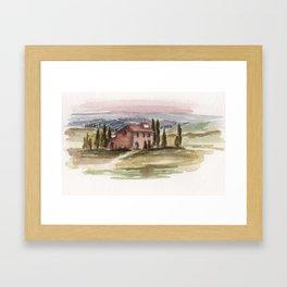 Tuscany, Sunset 2013 watercolor Framed Art Print