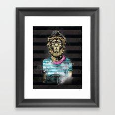 Hipster Lion on Black Framed Art Print