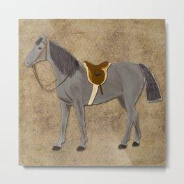 Saddled Grey Horse Metal Print
