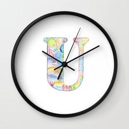 Letter U - Watercolor Monogram - Colorful Lettering - Watercolor Letter Print - Watercolor Initial Wall Clock