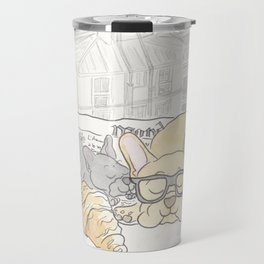 French Bulldogs Breakfast with Paris Rooftops View Travel Mug