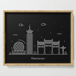 Vancouver Minimal Nightscape / Skyline Drawing Serving Tray