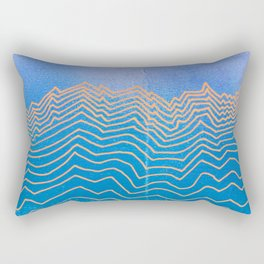 Abstract mountain line art in blue sky grunge textured vintage illustration background Rectangular Pillow