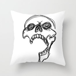 SKULL one line Throw Pillow