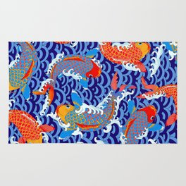 Koi fish / japanese tattoo style pattern Rug