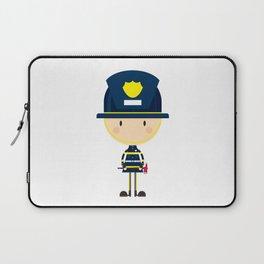 Cartoon Big Head Fireman Laptop Sleeve