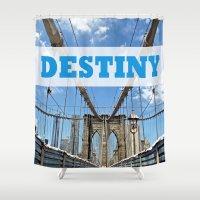 destiny Shower Curtains featuring destiny by Sarah Allu
