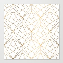 Geometric Gold Pattern With White Shimmer Canvas Print