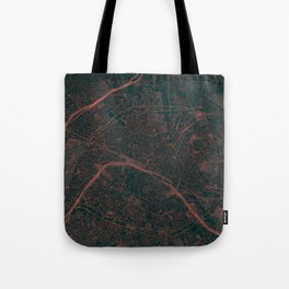Paris Map Red Tote Bag