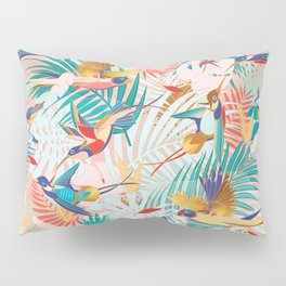 Colorful, Vibrant Paradise Birds and Leaves Pillow Sham