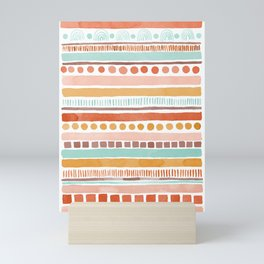 Boho Stripes - Watercolour pattern in rusts, turquoise & mustard. Nursery print Mini Art Print