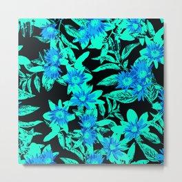 Bright Blue Vintage Blooms Metal Print
