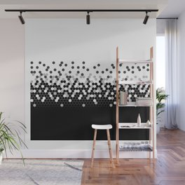 Flat Tech Camouflage White and Black Wall Mural