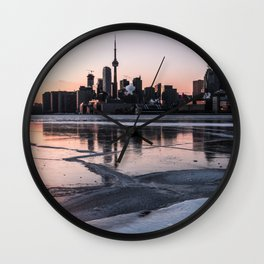 Winter Skyline from Toronto's Polson Pier Wall Clock