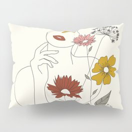 Colorful Thoughts Minimal Line Art Woman with Flowers III Pillow Sham