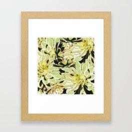 Yellow Desert Echeveria Pattern Framed Art Print