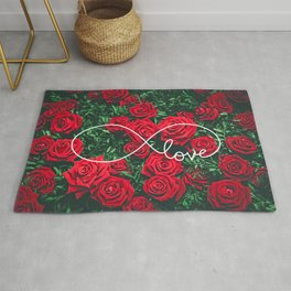Red Roses Photography & Infinity Love Sign Rug