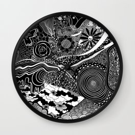 energy wave psychedelic lines Wall Clock
