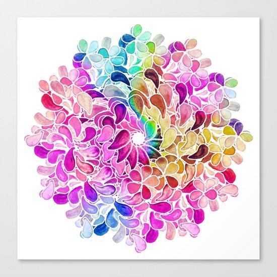 Rainbow Watercolor Paisley Floral Canvas Print