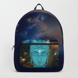 Blue Face of Buddha in the Galaxy Backpack