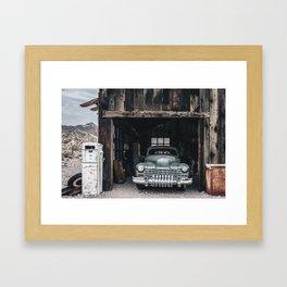 Old vintage car truck abandoned in the desert Framed Art Print
