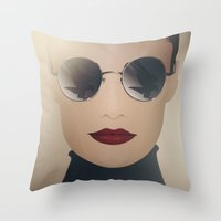ferrari Throw Pillows featuring Ferrari Girl by Seventy Two Studio
