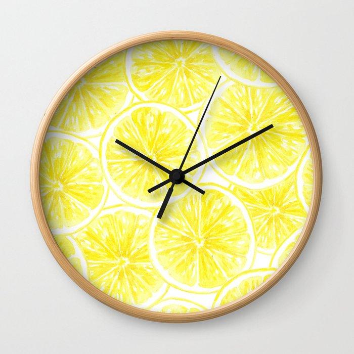 Lemon slices pattern watercolor Wall Clock