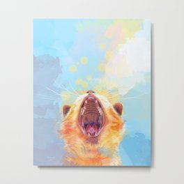 Rise and Shine, Kitty - colorful cat illustration Metal Print