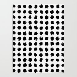 Black and White Minimal Minimalistic Polka Dots Brush Strokes Painting Poster