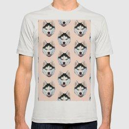 cute puppy husky dog pattern T-shirt