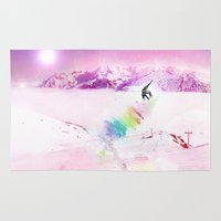 snowboard Area & Throw Rugs featuring Snowboard & Mountain by Julien Kaltnecker