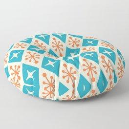 Mid Century Modern Atomic Triangle Pattern 922 Turquoise and Orange Floor Pillow
