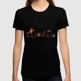 Pumpkin Halloween Heartbeat Nurse Love T-shirt
