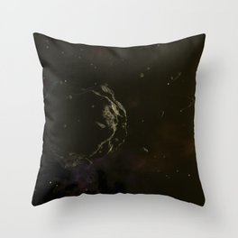 Large asteroid surrounded by smaller ones. Deep space, Cosmic Art and Science Fiction Concept. Throw Pillow