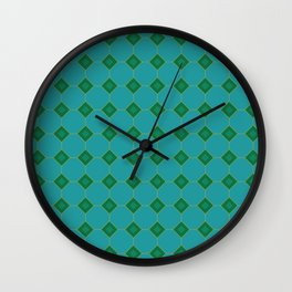 Forest Diamonds on Teal Wall Clock
