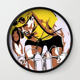The yellow jersey (retro style cycling) Wall Clock