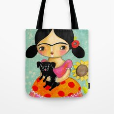Frida with Black Pug dog by TASCHA Tote Bag