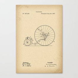 1887 Patent Velocipede wheel Bicycle archive history invention Canvas Print