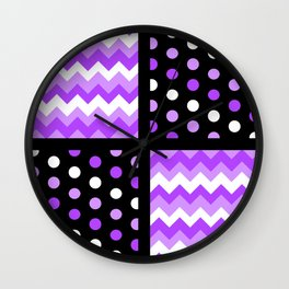 Black/Two-Tone Ultraviolet/White Chevron/Polka-dot Wall Clock