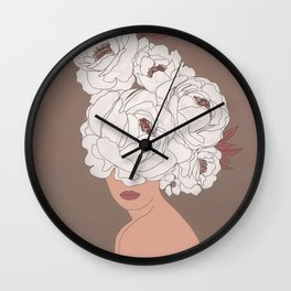Woman with Peonies Wall Clock