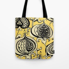Black and Yellow Floral Tote Bag