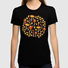Mushrooms - black and yellow T-shirt