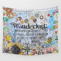 wanderlust Wall Tapestries featuring Wanderlust by Jenndalyn