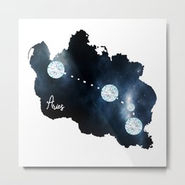 Aries Constellation in Diamonds - Star Signs and Birth Stones Metal Print